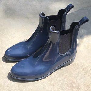 J. Crew Chelsea Blue Rain Booties Boots Size 10